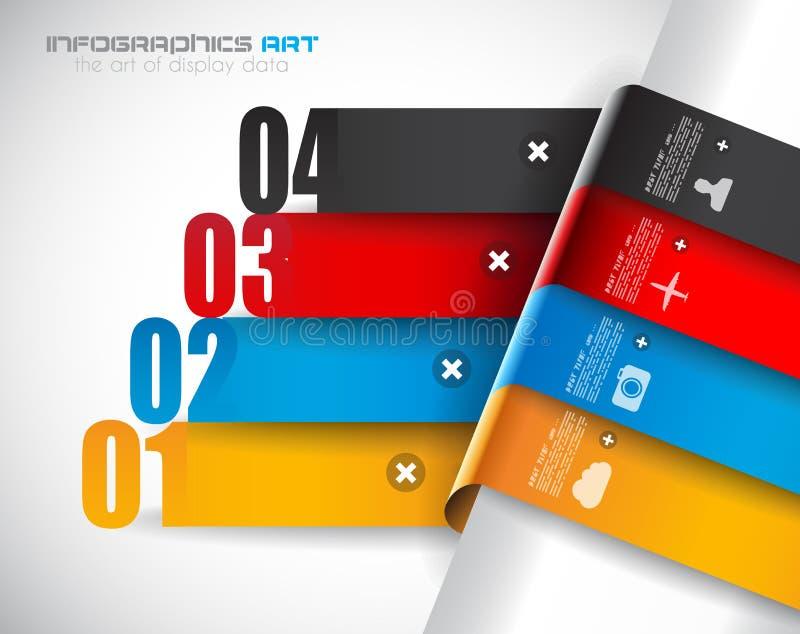 Molde do projeto de Infographic com etiquetas de papel ilustração stock