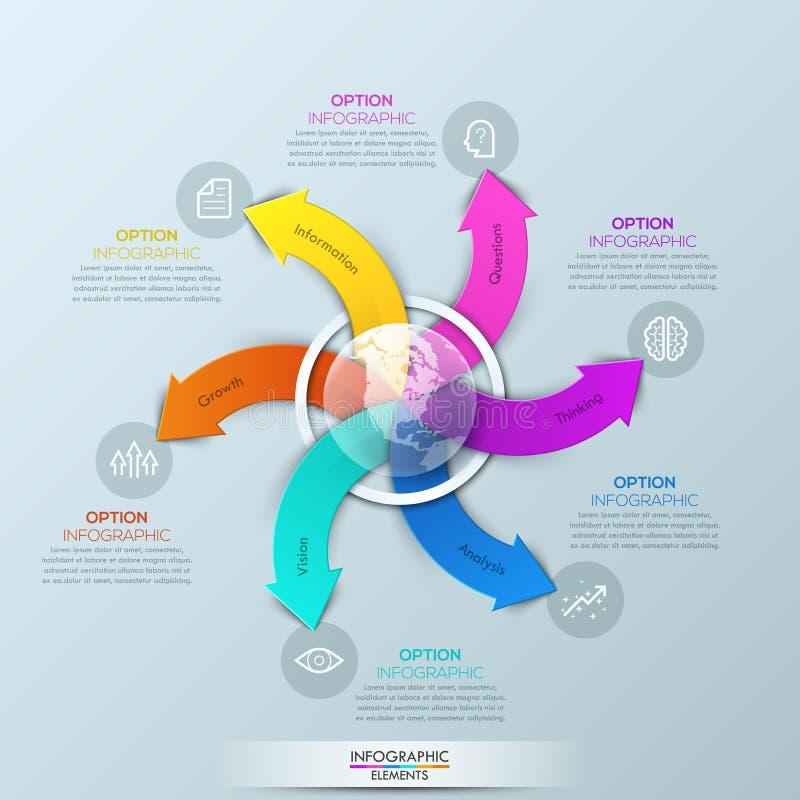 Molde do projeto de Infographic com globo e as 6 setas coloridos espirais ilustração stock