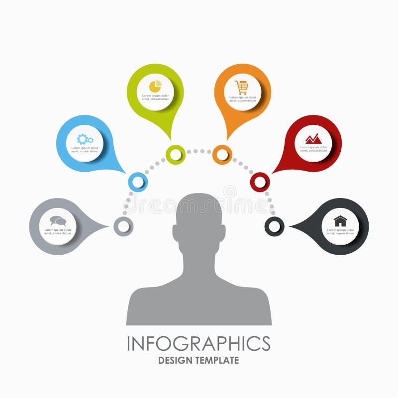 Molde do projeto de Infographic com lugar para seu texto Ilustração do vetor ilustração stock
