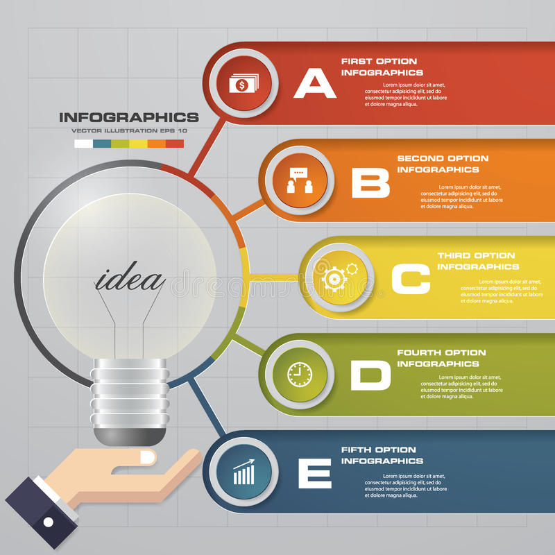 Molde do projeto de Infographic com opções do conceito 5 do negócio ilustração stock