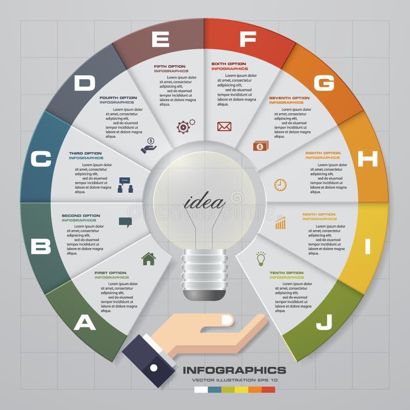 Molde do projeto de Infographic com opções do conceito 10 do negócio e grupo de ícones ilustração do vetor