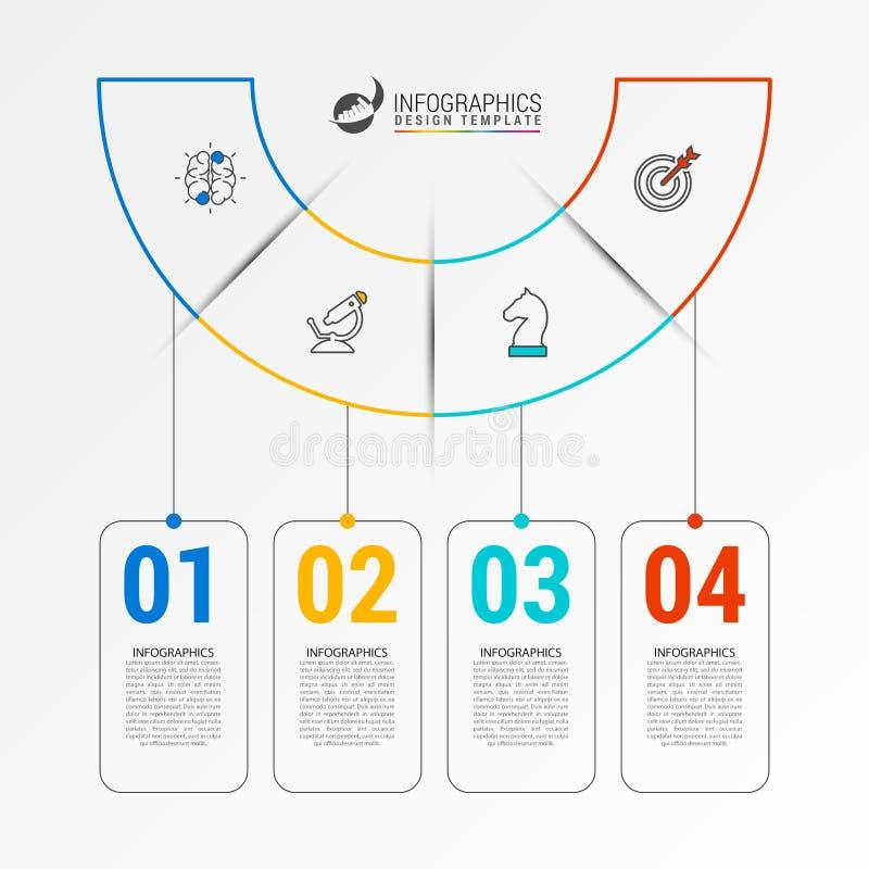 Molde do projeto de Infographic Conceito criativo com 4 etapas ilustração stock