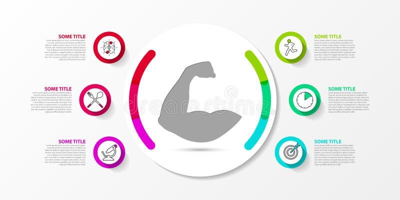 Molde do projeto de Infographic Conceito criativo com 6 etapas ilustração royalty free