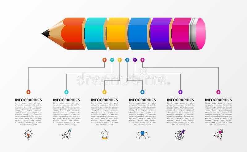 Molde do projeto de Infographic Conceito criativo com 6 etapas ilustração stock
