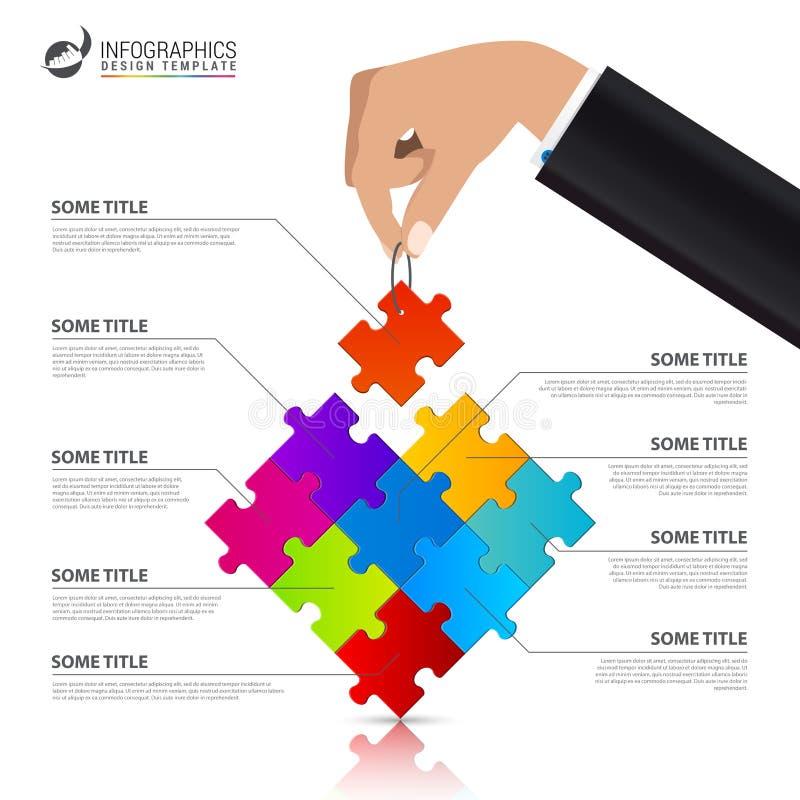Molde do projeto de Infographic Conceito criativo com 9 etapas ilustração do vetor
