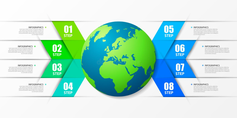 Molde do projeto de Infographic Conceito criativo com 8 etapas ilustração do vetor