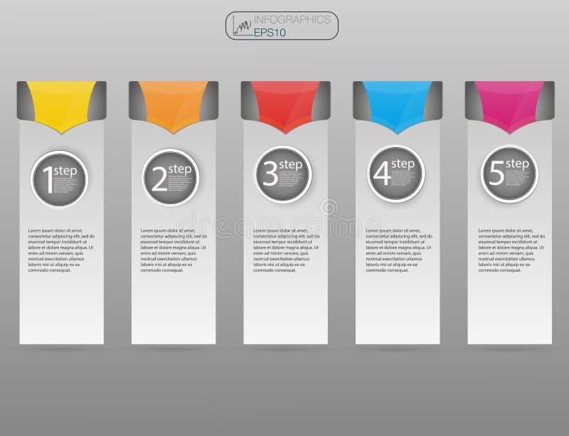Molde do projeto de Infographic, conceito do negócio com 5 opções, peças, etapas ou processos Opções do conceito 5 do negócio, es ilustração stock
