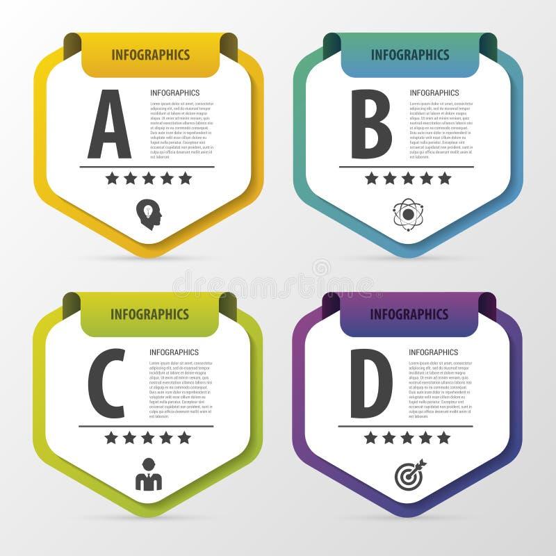 Molde do projeto de Infographic Conceito do negócio com 4 opções, peças Ilustração do vetor ilustração stock