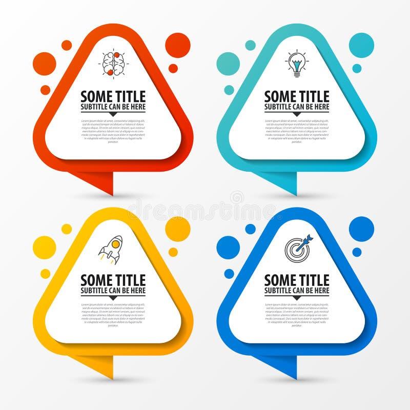 Molde do projeto de Infographic Conceito do negócio com 4 etapas ilustração do vetor