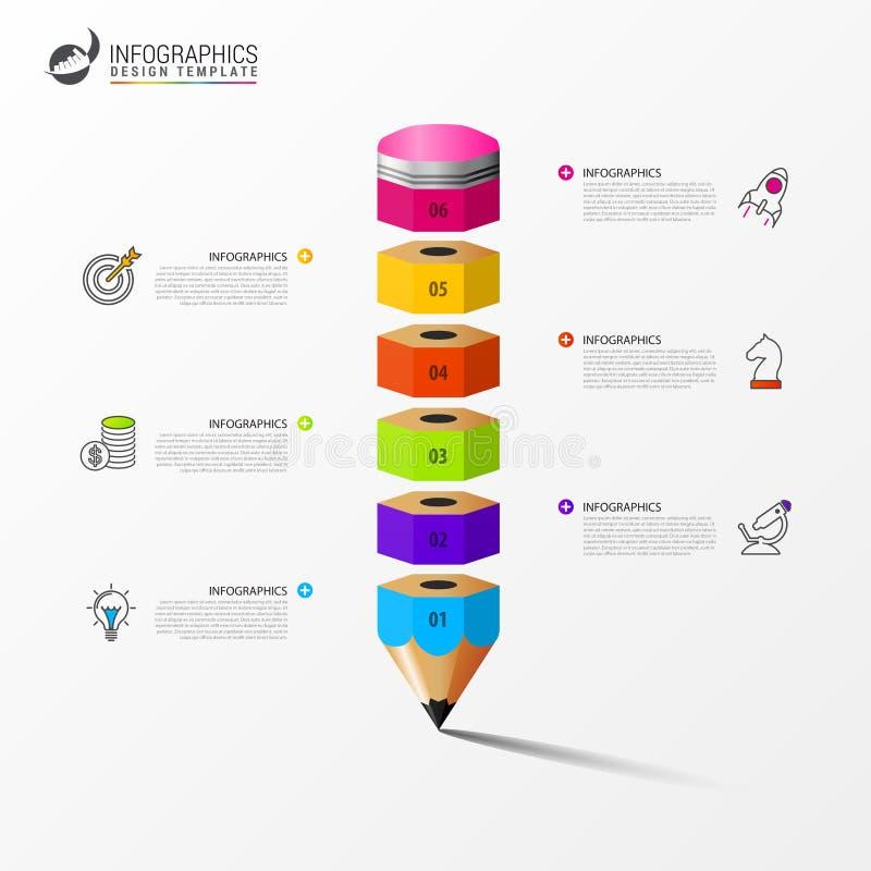 Molde do projeto de Infographic Conceito do negócio com 6 etapas ilustração do vetor