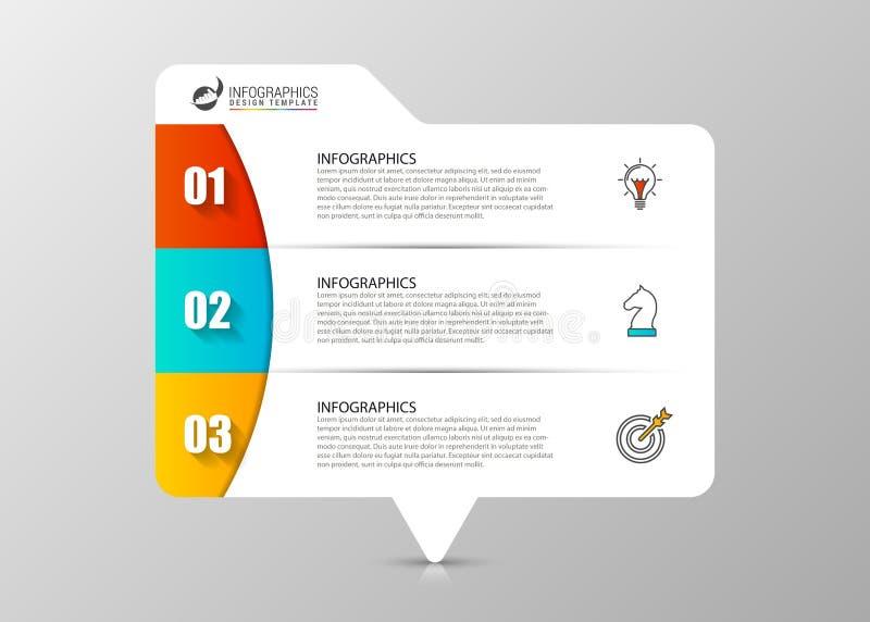 Molde do projeto de Infographic Conceito do negócio com 3 etapas ilustração do vetor