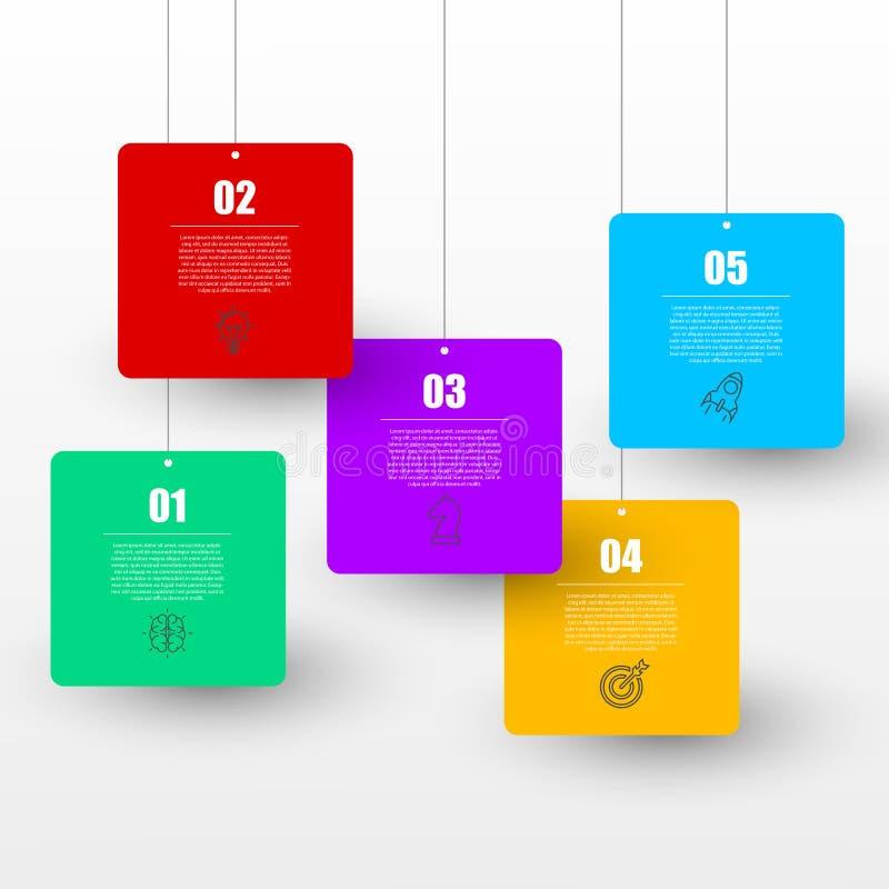 Molde do projeto de Infographic Conceito do negócio com 5 etapas ilustração do vetor