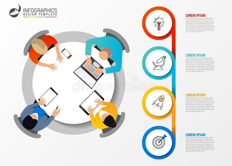 Molde do projeto de Infographic Conceito do negócio com 4 etapas ilustração royalty free
