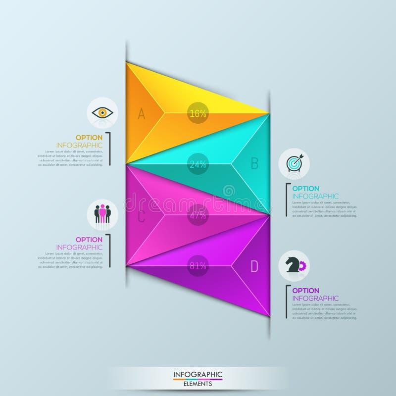 Molde do projeto de Infographic, diagrama com 4 elementos triangulares coloridos ilustração do vetor