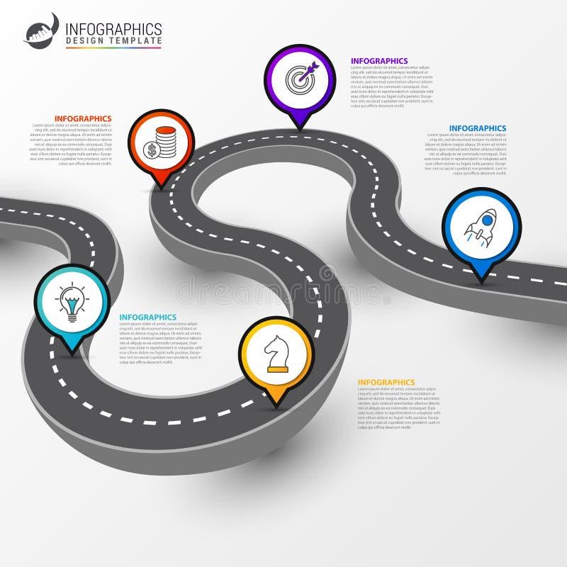 Molde do projeto de Infographic Diagrama da estrada com 5 etapas ilustração royalty free