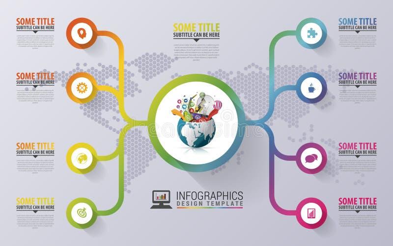Molde do projeto de Infographic Globo criativo Círculo colorido com ícones Ilustração do vetor ilustração do vetor