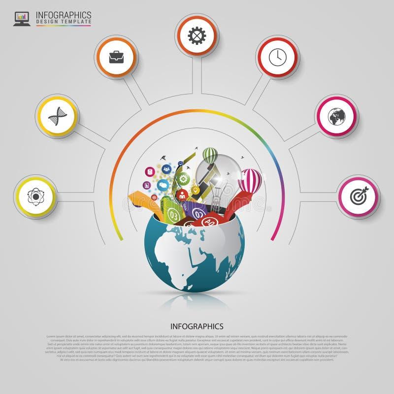 Molde do projeto de Infographic Mundo creativo ilustração do vetor