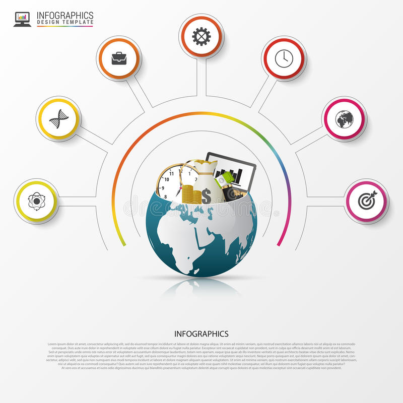 Molde do projeto de Infographic Mundo creativo Círculo colorido com ícones ilustração stock