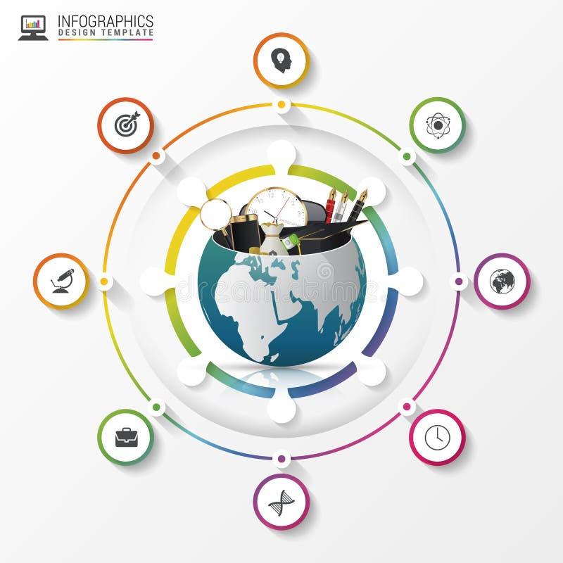 Molde do projeto de Infographic Mundo creativo Círculo colorido com ícones ilustração royalty free