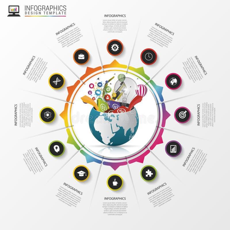 Molde do projeto de Infographic Mundo creativo Círculo colorido com ícones Vetor ilustração royalty free