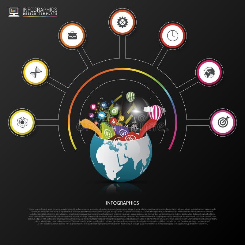 Molde do projeto de Infographic Mundo creativo Círculo colorido com ícones Vetor ilustração do vetor