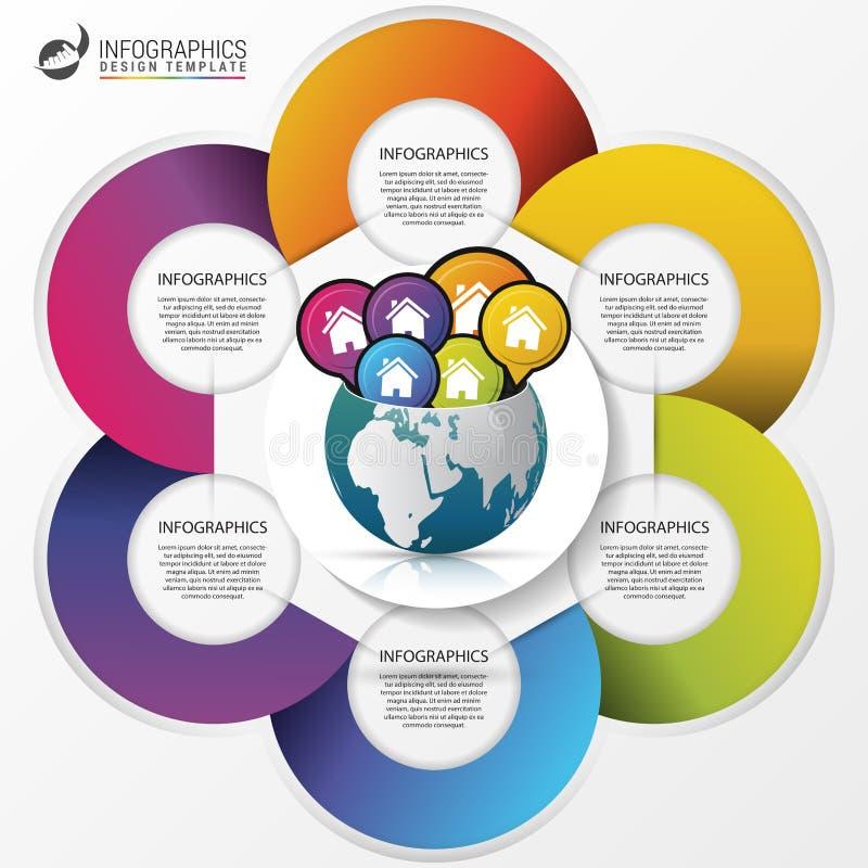 Molde do projeto de Infographic Mundo creativo conceito do curso ilustração do vetor