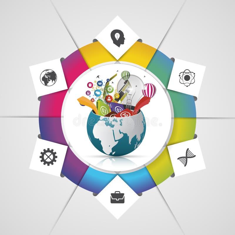 Molde do projeto de Infographic Mundo creativo Ilustração do vetor ilustração royalty free