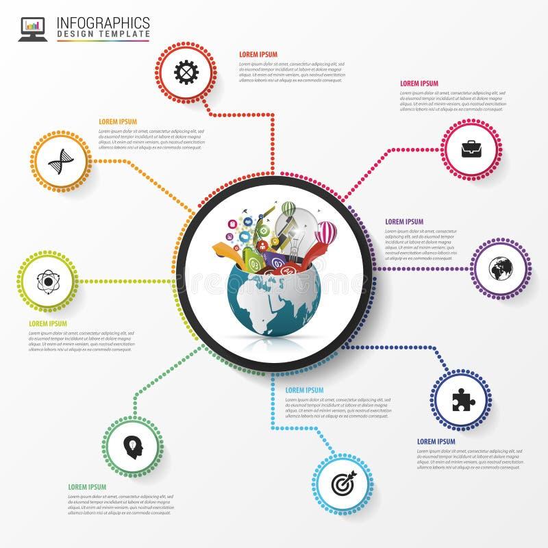 Molde do projeto de Infographic Mundo creativo Vetor ilustração stock