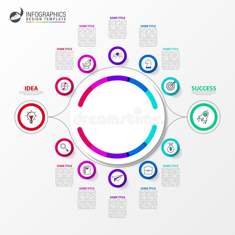 Molde do projeto de Infographic 2 trajetos diferentes ao sucesso ilustração do vetor