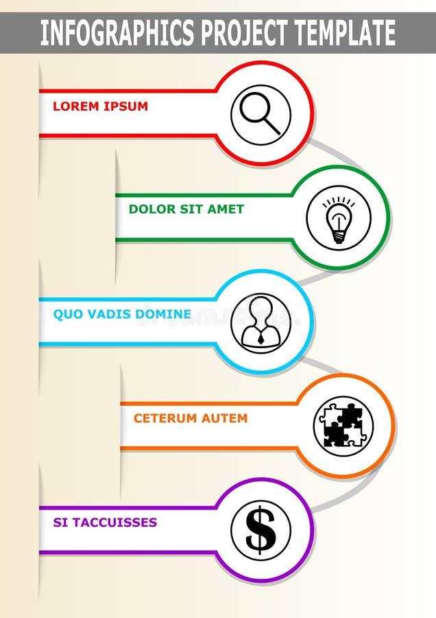 Molde do projeto de Infographic, vetor abstrato com elementos gráficos coloridos simples, ícones e espaço da cópia, informação ci ilustração stock