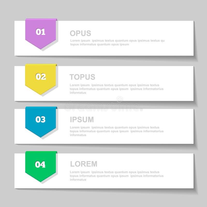 Molde do projeto de Infographics bandeiras numeradas ilustração do vetor