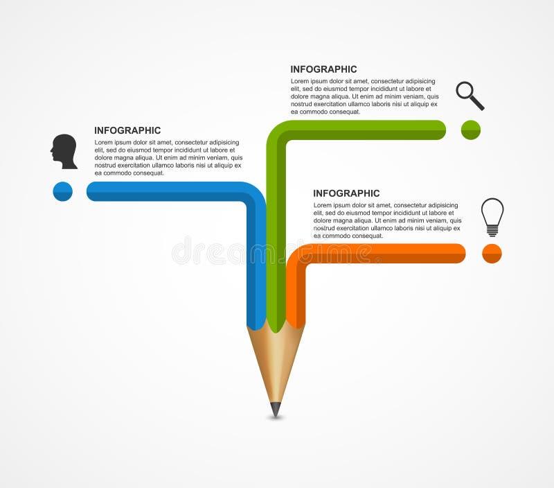 Molde do projeto de Infographics da opção do lápis da educação ilustração royalty free