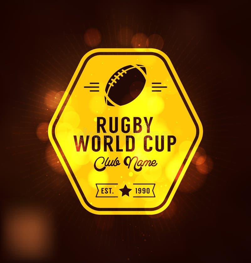 Molde do projeto de Logo Sport do campeonato do mundo do rugby ilustração stock