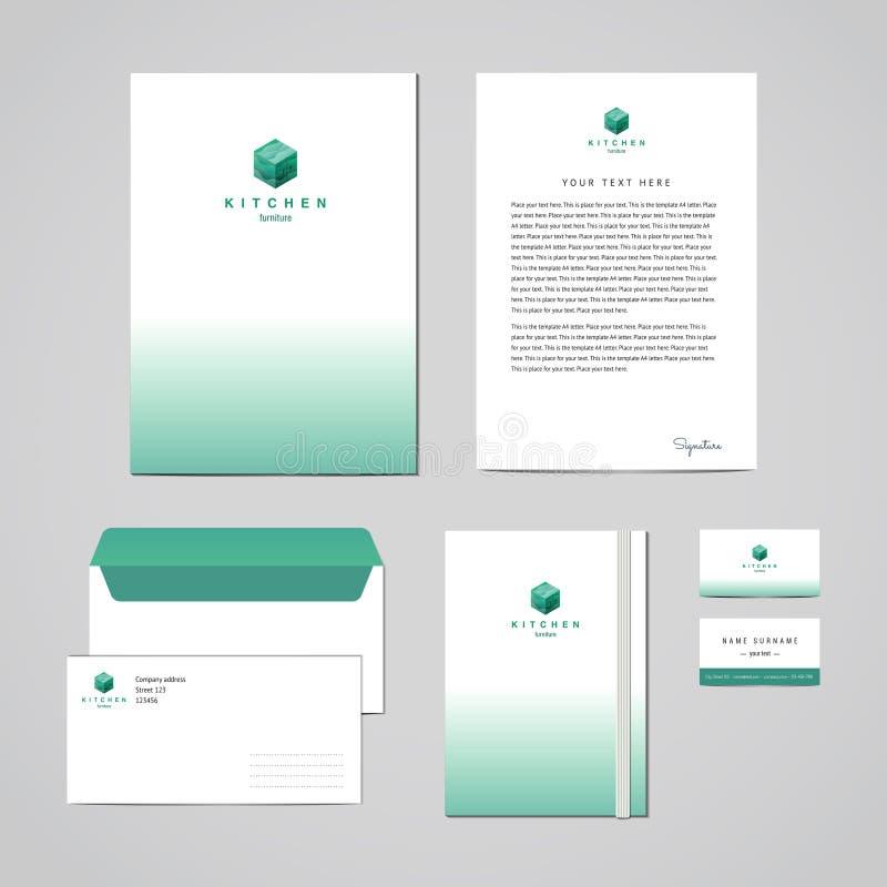 Molde do projeto de turquesa da loja de móveis da identidade corporativa Documentação para o negócio (dobrador, cabeçalho, envelo ilustração do vetor