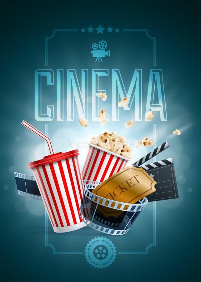 Molde do projeto do cartaz do cinema ilustração stock