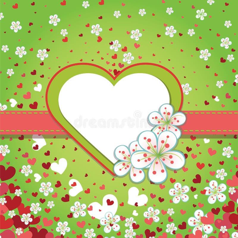 Molde do projeto do casamento da mola com corações e spr ilustração do vetor