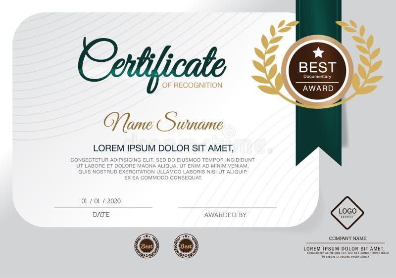 Molde do projeto do certificado Verde ilustração royalty free
