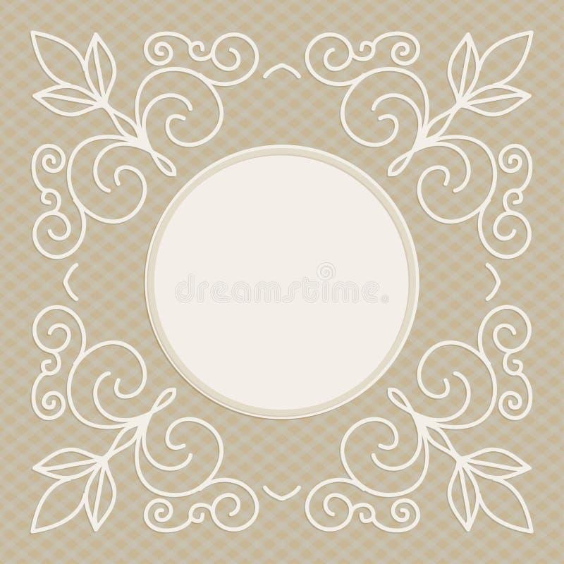 Molde do projeto do convite do casamento - fundo decorativo para o cartão na mono linha estilo ilustração royalty free