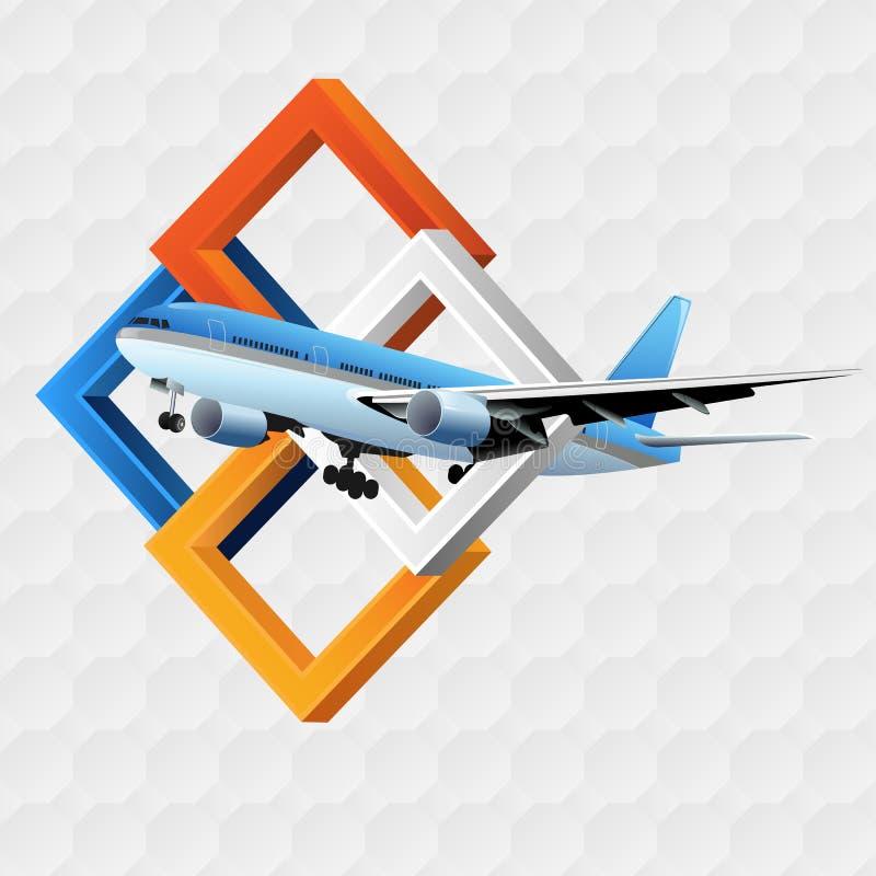 Molde do projeto do curso com quadrados das dimensões da calha três do voo do avião de passageiros ilustração royalty free