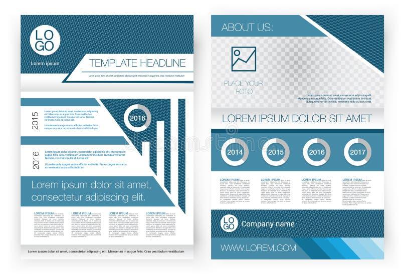 Molde do projeto do folheto do vetor Primeira página e página traseira, infographics Formulário incorporado para a apresentação ilustração stock