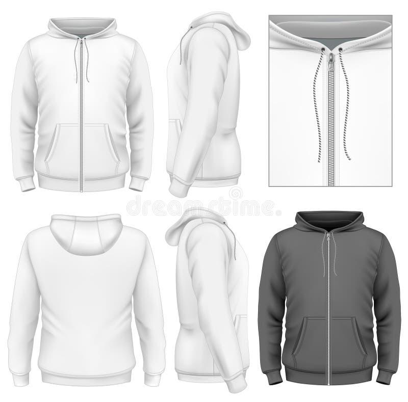 Molde do projeto do hoodie do fecho de correr dos homens ilustração royalty free