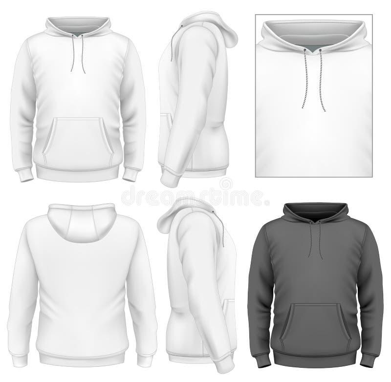 Molde do projeto do hoodie dos homens ilustração do vetor