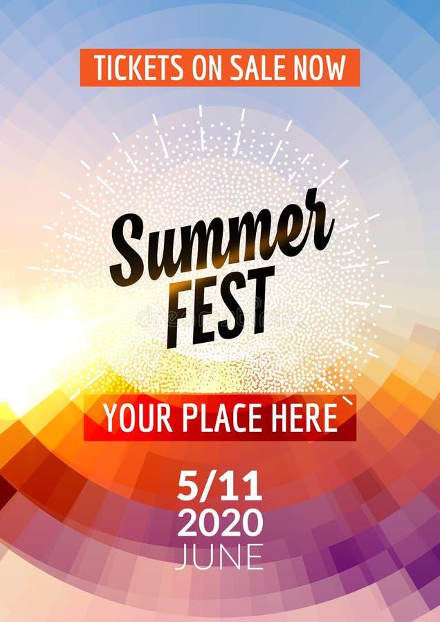 Molde do projeto do inseto do festival do verão Projeto colorido do molde do inseto do cartaz do verão ilustração stock