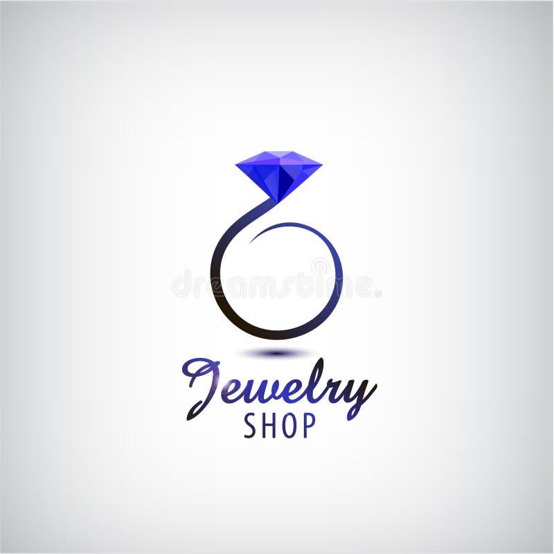 Molde do projeto do logotipo da joia do vetor Anel do círculo com pedra azul, cristal ilustração stock