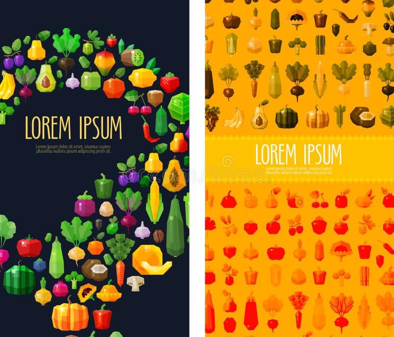 Molde do projeto do logotipo das frutas e legumes alimentos frescos ou jardinagem, horticultura ou ícone Ilustração lisa ilustração royalty free
