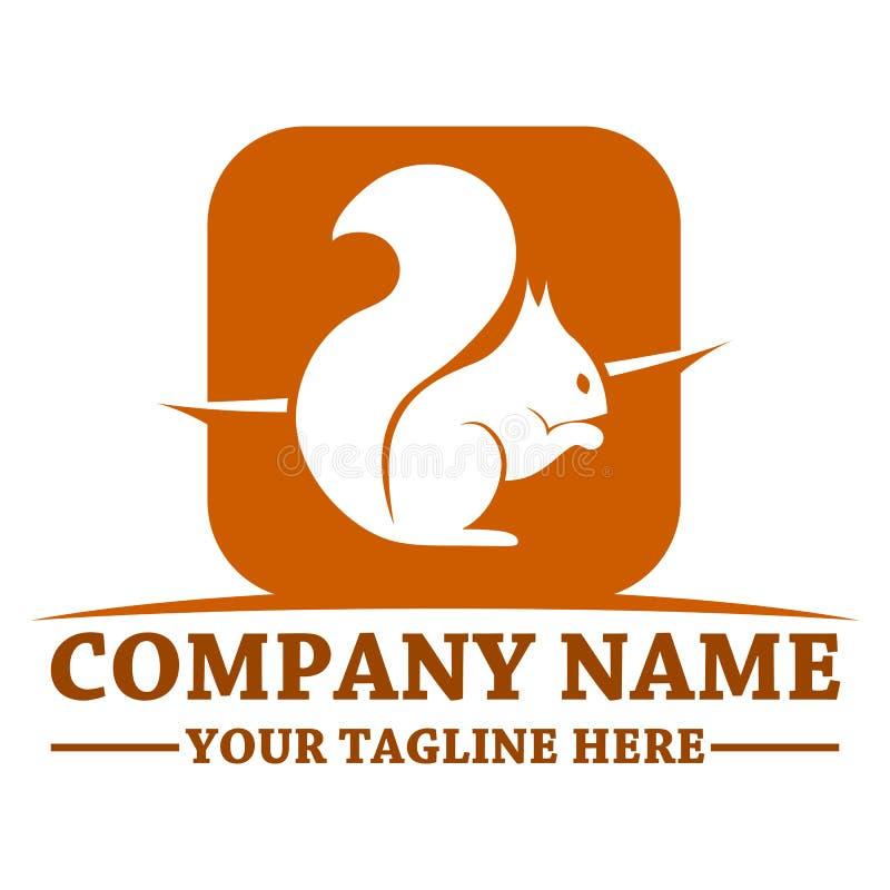 Molde do projeto do logotipo do esquilo ilustração stock