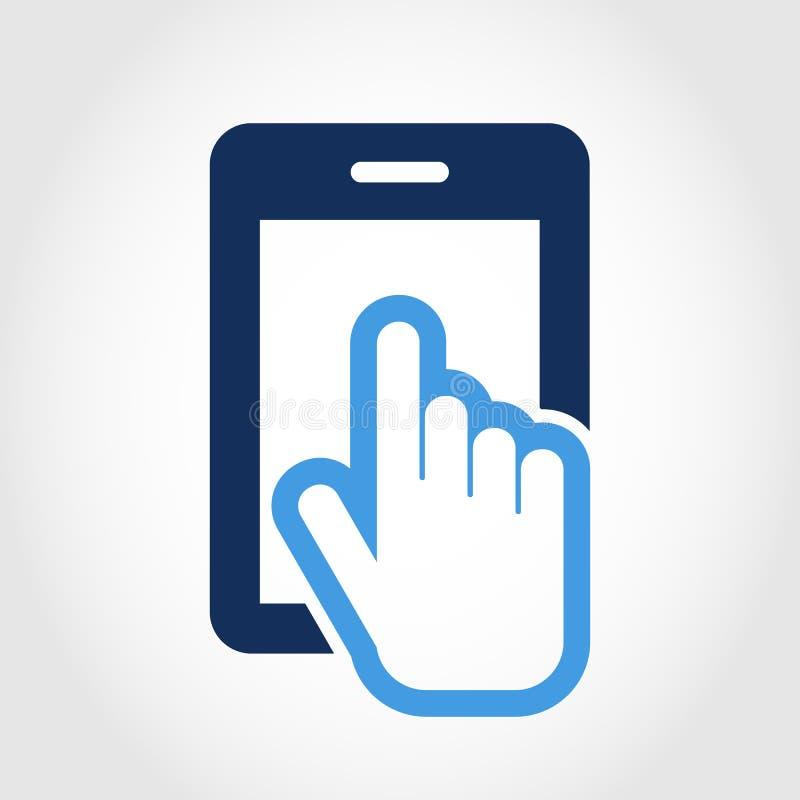 Molde do projeto do logotipo do vetor Ícone do smartphone da tela de toque Mão ilustração stock