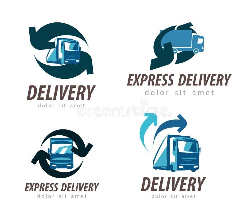 Molde do projeto do logotipo do vetor da entrega caminhão ou carro ilustração do vetor