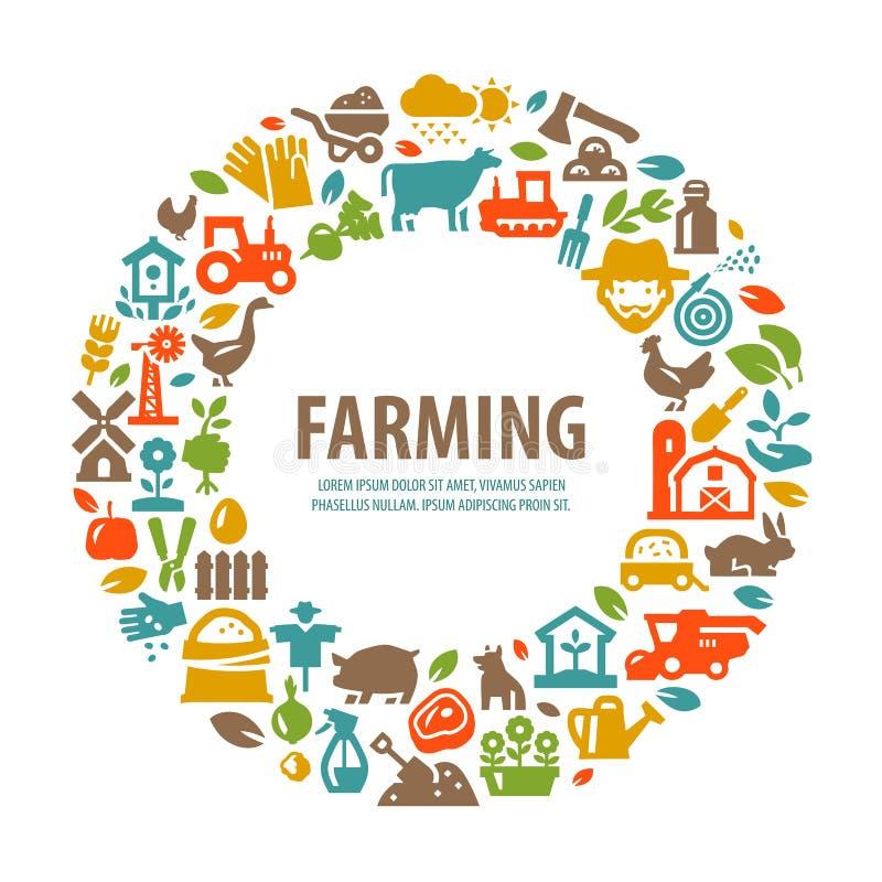 Molde do projeto do logotipo do vetor da exploração agrícola cultivo, colheita ilustração royalty free