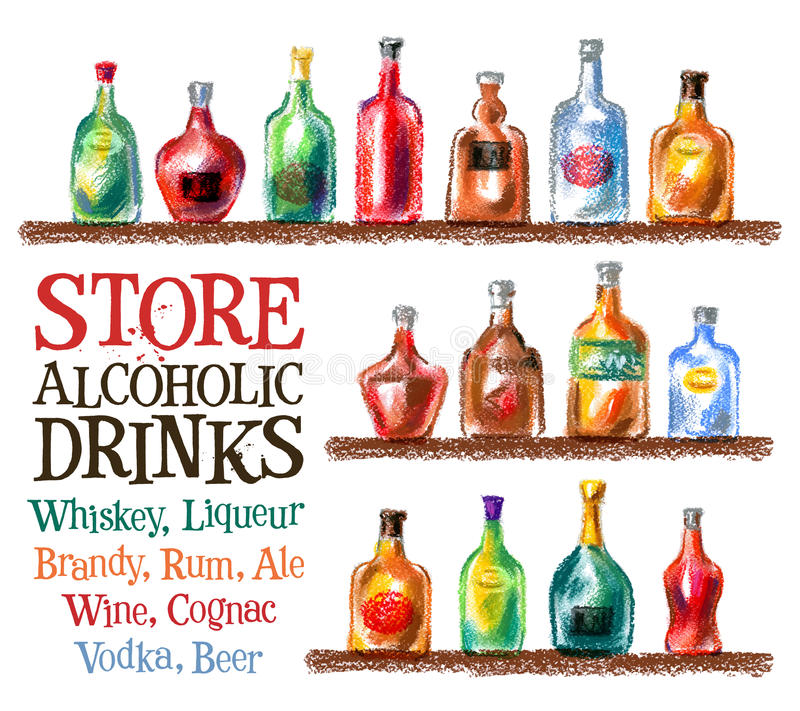 Molde do projeto do logotipo do vetor das bebidas uísque, vinho ilustração do vetor